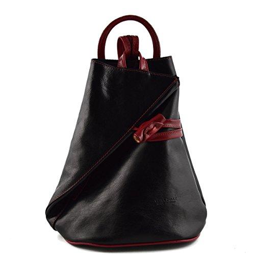 Bolso De Espalda En Piel Verdadera Para Mujer Con Tirantes En Cremallera Color Negro Rojo - Peleteria Echa En Italia - Bolso Espalda