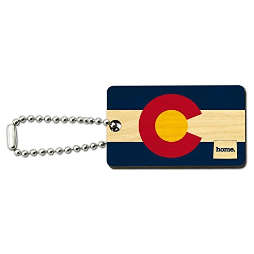 Colorado CO Home State Wood Wooden Rectangle Key Chain - Flag