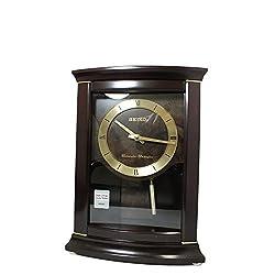 Seiko Cherry Finish Shelf Clock with Pendulum and Chime