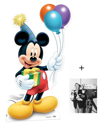 Fan Pack - Mickey Mouse Holding party balloons Lifesize Cardboard Cutout / Standee - Includes 8x10 (25x20cm) Star Photo