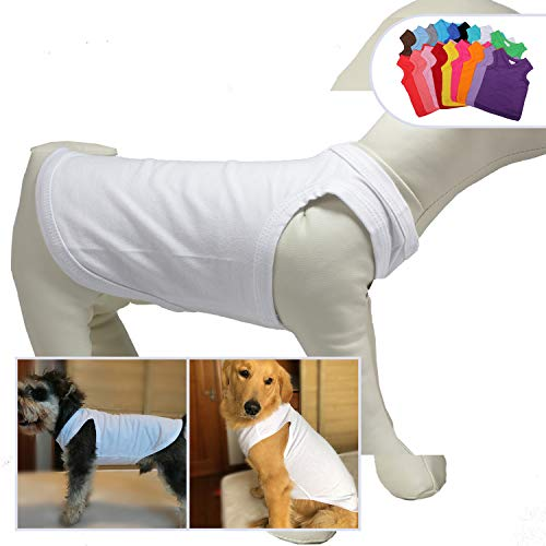 2019 Pet Clothes Dog Clothing Blank T-Shirt Tanks Top Vests for Small Medium Large Size Dogs 100% Cotton Dog Summer Vest Classic White L