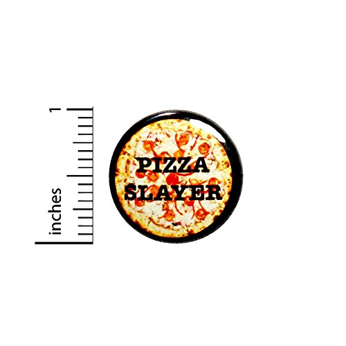 (Funny Pizza Button Pizza Slayer Destroyer Geekery Nerdy Jacket Pin Pinback 1