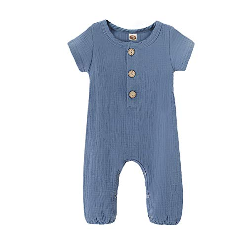 Toddler Baby Boys Girls Solid Jumpsuit Summer Short Sleeve Romper Cotton One-Piece Coverall Outfit Clothes Blue 6-12 Months ()