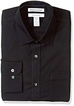 "Amazon Essentials Men's Regular-Fit Wrinkle-Resistant Long-Sleeve Solid Dress Shirt, Black, 14.5"" Neck 32""-33"" Sleeve"