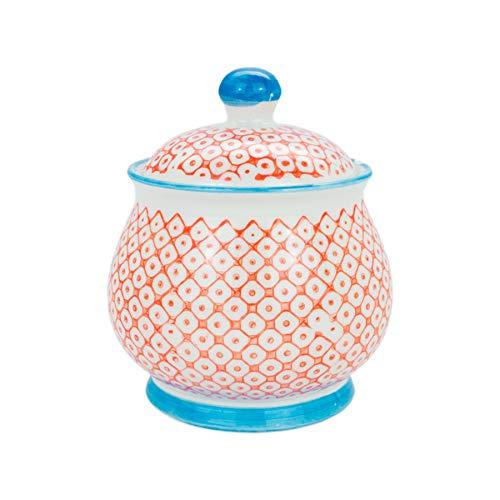 Nicola Spring Patterned Sugar Bowl/Pot with Lid - Orange/Blue -