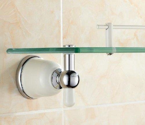 TACCY Single Bathroom Glass Shelf with Two White+Chrome Finish Brackets Brass made Toughened Safety Mounted Glass shelf #MKL2C