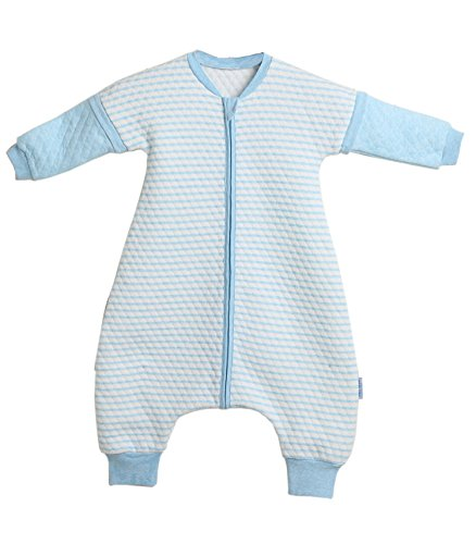 LETTAS Baby Boys and Girls Quilted Cotton Stripe Detachable Sleeve 2.5 Tog Sleeping Bag with Feet for Big Kids Blue (2T-3T,L)