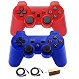 Kepisa Wireless Bluetooth Controllers for PS3 Double Shock (Blue and Red)
