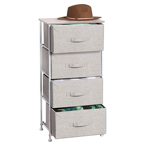 mDesign Vertical Dresser Storage Tower - Sturdy Steel Frame, Wood Top, Easy Pull Fabric Bins - Organizer Unit for Bedroom, Hallway, Entryway, Closets - Textured Print - 4 Drawers - Linen/Natural (Lingerie Of Chest Drawers)