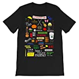 Comedy Film How I Met Your Mother Quotes Collage Ted Mosby Robin Scherbatsky Marshall Eriksen Graphic tee-Shirt Gift for Men Women Girls Unisex T-Shirt Sweatshirt (Black-S)