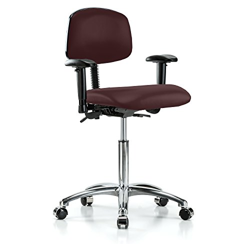 Perch Chrome Rolling Multi Task Swivel Chair for Hardwood or Tile Floors, Workbench Height, Burgundy Fabric (Burgundy Task Chair Multi)