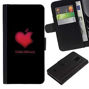 KLONGSHOP // Tirón de la caja Cartera de cuero con ranuras para tarjetas - PIENSE DIFERENTE CORAZÓN DE APPLE - Samsung Galaxy S5 Mini, SM-G800 //