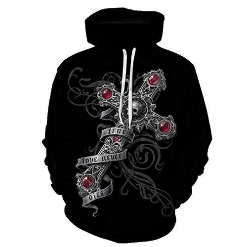 LaiYuTing Nieuwe mannen schedel 3D digitale afdrukken losse Hooded trui vrouwen Hooded Plus Size Paar Outfit