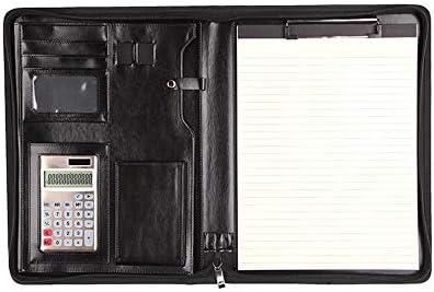 Konferenzmappe aus Leder, Padfolio Business Box Manager A4 Ordner Tasche Reißverschluss konzipiert für Business-Sitzungen und Meetings, LEDER, schwarz, 342x250mm