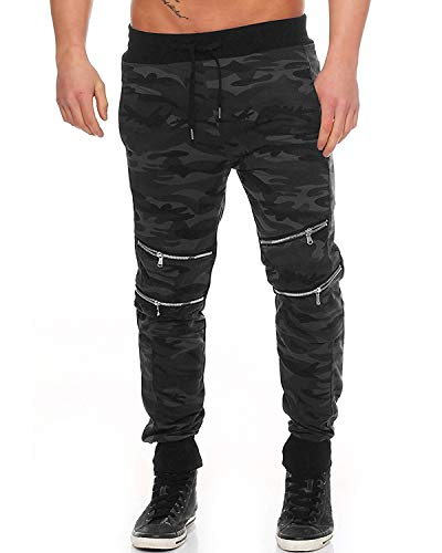 - MODCHOK Men's Jogger Pants Camo Cargo Trousers Camouflage Sports Twill Drawstring Casual Chino Sweatpants Black-2 L