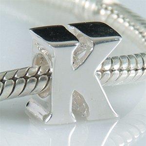 """Andante-Stones perle Bead Argent 925 Sterling massif ALPHABET """"K"""" Élément bille pour perles European Beads + Étui en organza"""