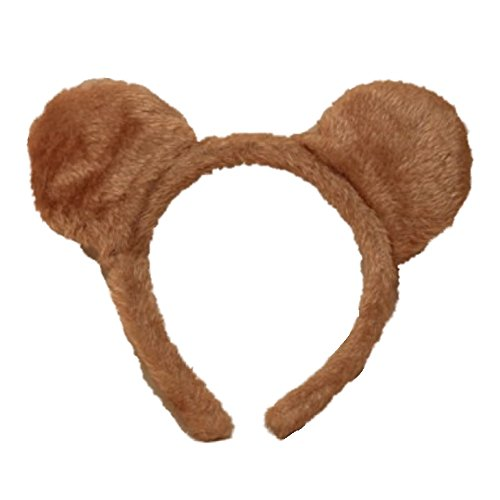 Price comparison product image Brown Soft Furry Teddy Bear Ears Alice Hair Band Headband Fancy Dress