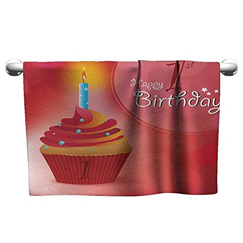 Bensonsve Custom Towel 1st Birthday,Abstract Background with Sunbeams and Party Cupcake Candlestick Image,Orange and Red,Hanging Towel Rack for Bathroom