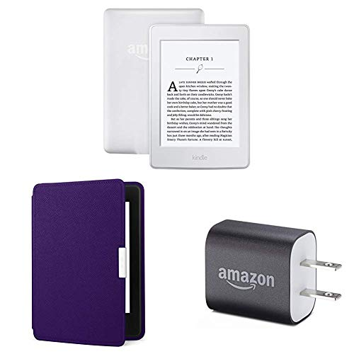 "Kindle Paperwhite Essentials Bundle including Kindle Paperwhite 6"" E-Reader (Previous Generation - 7th), White , Amazon Leather Cover - Royal Purple, and Power Adapter"