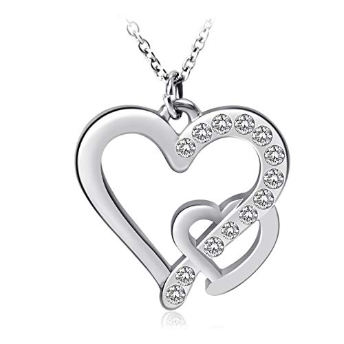 GameXcel Necklaces for Women Imitation Crystal Necklace Heart Pendant Necklace Jewelry Silver Plastic Neckace