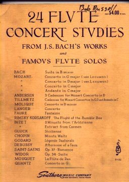 24 Flute Concert Studies From J. S. Bach's Works and Famous Flute Solos (B-432)