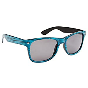 Classic Wayfarer Sunglasses for Men & Women Faux Woodgrain, Smoke Lens (Aqua Woodgrain) - 9018
