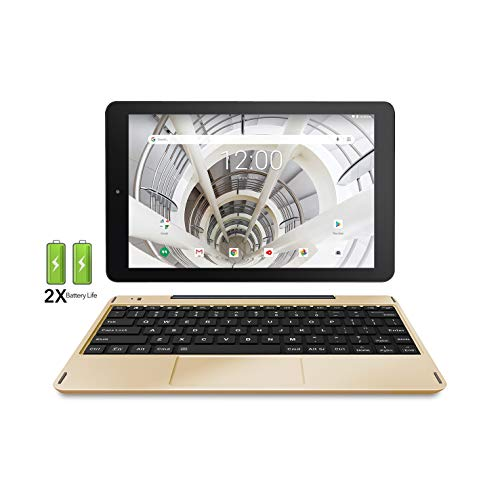 "RCA 10.1"" HD IPS 32GB Quad-Core Tablet w/Extended Battery Keyboard Android 8.1 (10 inch, Gold Marble)"