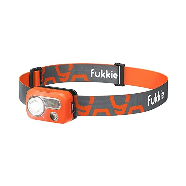 Fukkie Ipx7 Waterproof 215 Lumens Head Torch With 6 Led Light Modes Floodlight And Adjustable Headband And Carabiner Ideal For Jogging Camping