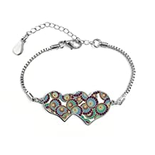 Japan Culture Japanese Style Green Blue Art Umbrella Ukiyo-e Repeat Illustration Pattern Double Hearts Shape Round-Cut Cubic Chain Bracelet Love Gifts