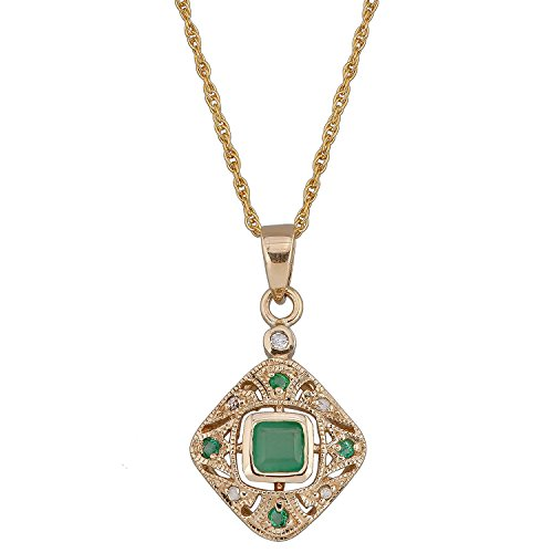 10k Yellow Gold Vintage Style Emerald and Diamond Pendant Necklace
