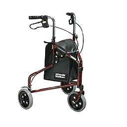 Drive Medical Winnie Lite Supreme Aluminum Three Wheel Rollator, Flame Red