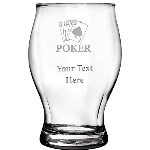 5.75 Ounce Glass - Custom Poker Tournament Beer Glass Awards, Custom Poker Cards Beer Tasting Glasses, 5.75 oz Prime