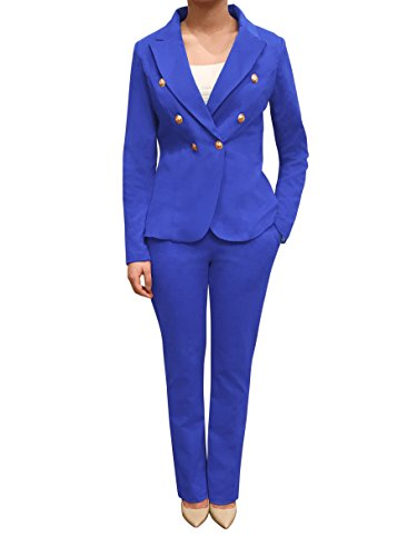 Womens Double Breasted Gold Button Front Blazer Jacket(Royal,Large) Blue Blazer Gold Buttons