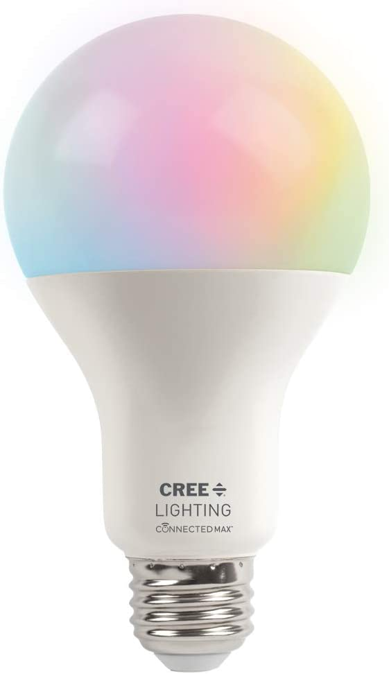 Cree Lighting Connected Max Smart LED Bulb A21 100W Tunable White + Color Changing, Works with Alexa and Google Home, No Hub Required, Bluetooth + WiFi, 1pk