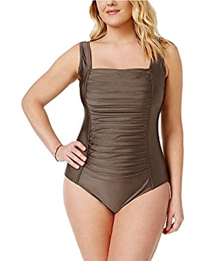 Calvin Klein Plus Size Pleated One-Piece Swimsuit