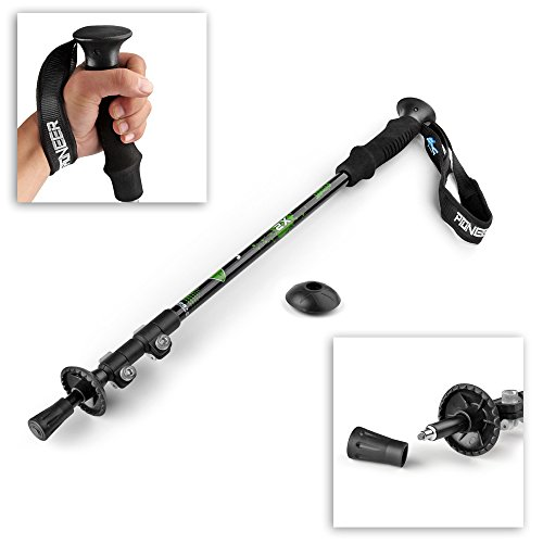 """Flexzion Trekking Pole Walking Stick Collapsible Retractable 24"""" 54"""" Anti Shock Alpenstock Outdoor Sports Hiking Walking Travel Camping Backpacking Ultra Light Aluminum with EVA Foam Handle"""