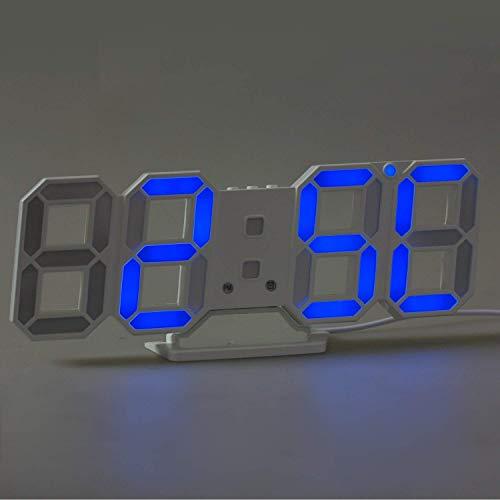 digitale wanduhr led wanduhr timorn 3d led wecker mit 3 einstellbarer blau ebay. Black Bedroom Furniture Sets. Home Design Ideas