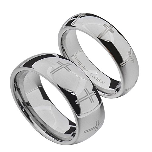 Ring Cross Religious Fashion (FlameReflection White Tungsten His & Hers Wedding Ring Sets Religious Cross Eternity Engraved High Polished Domed 6&8mm)