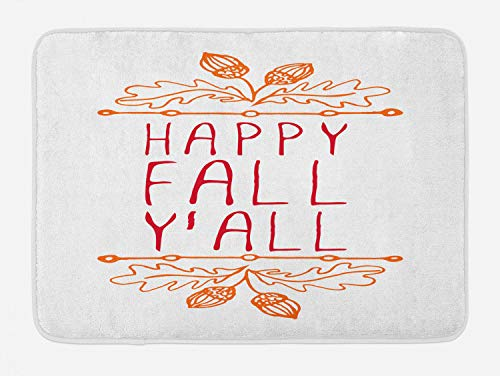 Lunarable Happy Fall Yall Bath Mat, Hand Written Autumn Themed Words with Acorns and Leaves, Plush Bathroom Decor Mat with Non Slip Backing, 29.5