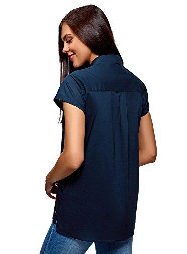 Dritta Corte oodji Blu Ultra Donna 7900n con Camicia Maniche FWOxwZ