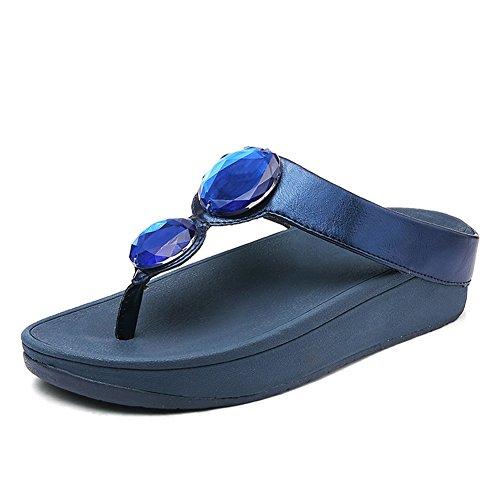 Blue Mujer Chancletas Pendiente Sandalias De Rhinestone Antideslizante Zapatos Grueso Playa Fondo Pellizcar Nvxie xq7ZnFXw7