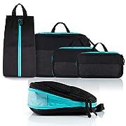 Atacama Packwürfel Kompression Packing Cubes – Kleidertaschen Packtaschen Set 4-teilig mit Naßfach und Schmutzwäschefach…