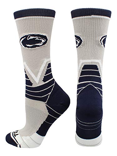 TCK Sports Penn State Nittany Lions Victory Crew Socks (Grey/Blue/White, Small)