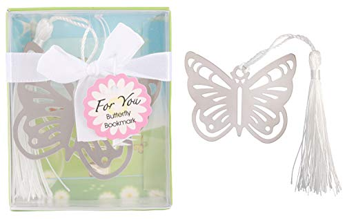 Yuokwer 12pcs Butterfly Metal Bookmarks Baby Shower Souvenirs Birthday Wedding Favors and Gift for Guest,Gift Boxed Book Lovers Collection (12, Butterfly)