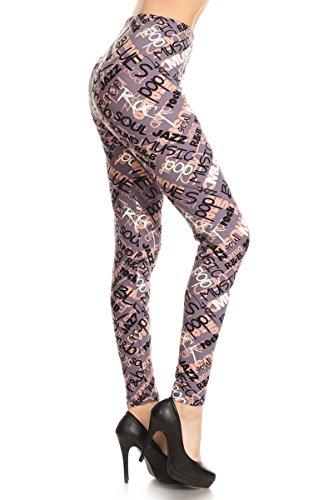 R892W-PLUS Music Genre Print Fashion Leggings