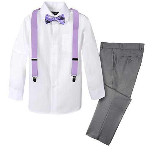 Spring Notion Boys' 4-Piece Patterned Dress up Pants Set 7 Grey/Lilac]()