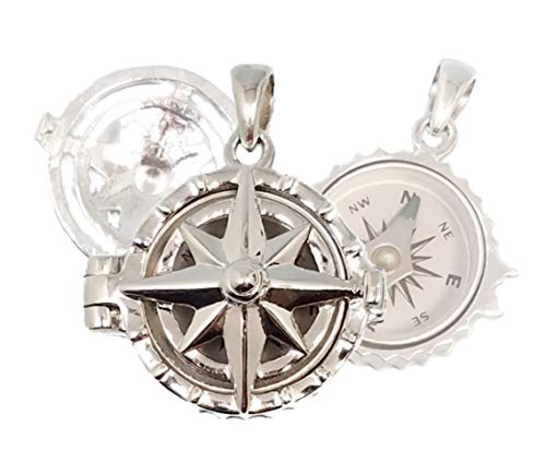 Stanley London Sterling Silver Compass Rose Locket with Working Compass (Personalized Locket No Chain)