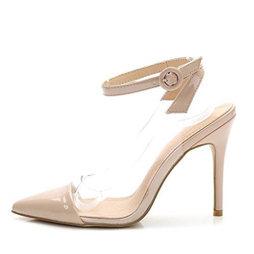 Single shoes - female Chaussures à talons hauts d'été a souligné sexy sandales de mode mosaïque transparente (Couleur : High 10cm, taille : 40-Shoes long250mm) High 8cm