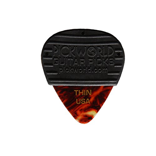 (PickWorld MG3C-4T MojoGrip Rubber Grip Thin .46mm Celluloid Guitar Pick, Pack of 3, Tortoise)
