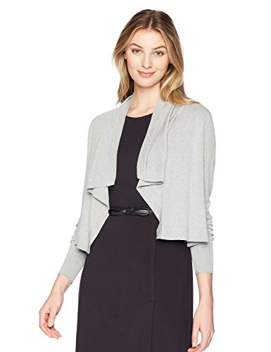 Lark & Ro Women's Cropped Waterfall Open Cardigan Sweater